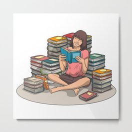 Girl reading in a pile of books Metal Print
