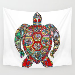 Colorful Sea Turtle Abstract Mandala Wall Tapestry