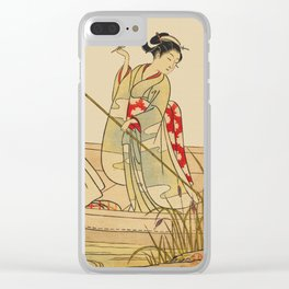 Women Gathering Lotus Blossoms Clear iPhone Case