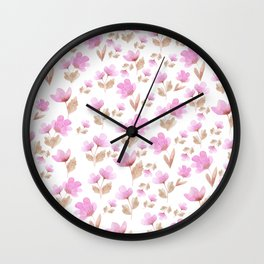 Girly blush pink brown watercolor hand painted floral pattern Wall Clock