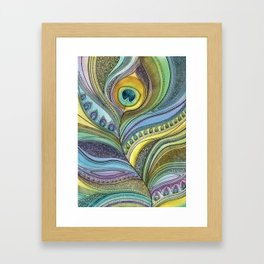 Intricate Peacock Feather Framed Art Print