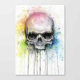 Skull Rainbow Watercolor Canvas Print