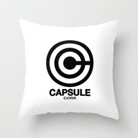 daschund Throw Pillows featuring Capsule Corp Logo 2 by Dashing Daschund