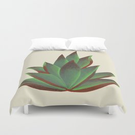 Red and Green Aloe Vera Plant Duvet Cover
