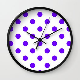 Polka Dots - Indigo Violet on White Wall Clock