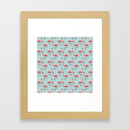 Flamingos in Cool Water Framed Art Print