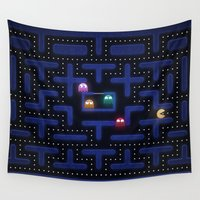 pacman Wall Tapestries featuring Pacman by Foxxya