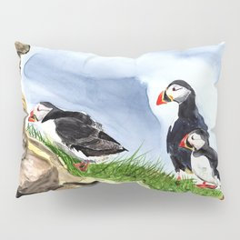 """""""What is going on over there?"""" Atlantic Puffins Watercolor Painting Pillow Sham"""