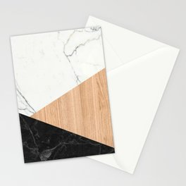Marble and Wood Abstract Stationery Cards