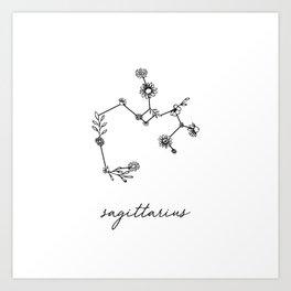 Sagittarius Floral Zodiac Constellation Art Print