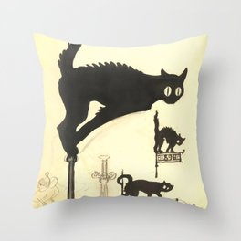 "Théophile Steinlen ""Black cats"" Throw Pillow"