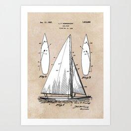 patent art Herreshoff  Sail Boat 1925 Art Print