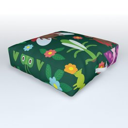 Funny insects Spider butterfly caterpillar dragonfly mantis beetle wasp ladybugs Outdoor Floor Cushion