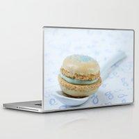macaron Laptop & iPad Skins featuring Blue macaron by Nuria Esquina