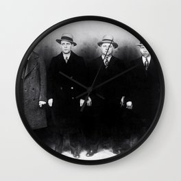 The Syndicate - 'Lucky' Luciano & New York gangsters Ed Diamond, Jack Diamond, & Fatty Walsh black and white photography / photographs Wall Clock