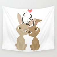 jackalope Wall Tapestries featuring Jackalope Love by Sara Showalter