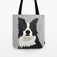 border collie Tote Bags featuring Beautiful Border Collie by ArtLovePassion