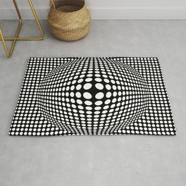 Black And White Victor Vasarely Style Optical Illusion Rug