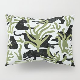 Abstract Wild Cats and Plants / Black and Green Pillow Sham