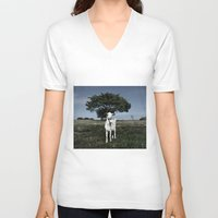 goat V-neck T-shirts featuring Goat by Ana Francisconi