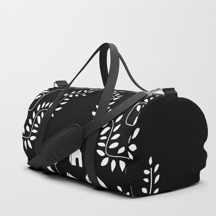 Line Vine Village Line Art Illustration in Black Duffle Bag