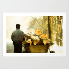 Farmer and Wood Cart in Moldova, Romania Art Print