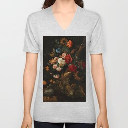 "Ernst Stuven ""Floral still life with Yellow-Bellied Toad and snake"" Unisex V-Neck"