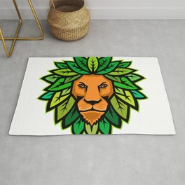Lion With Leaves As Mane Mascot Rug