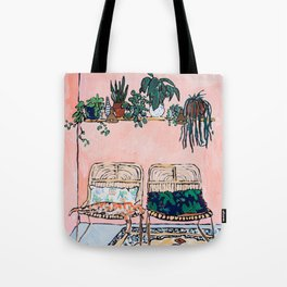 Two Chairs and a Napping Ginger Cat Tote Bag