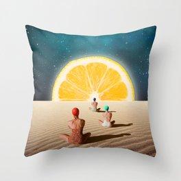 Desert Moonlight Meditation Throw Pillow