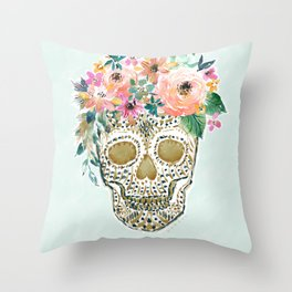 DESDEMONA Flower Crown Skull Throw Pillow