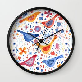Birds in a Garden Wall Clock