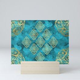 Teal Swirls and Gold Oriental Designs Mini Art Print