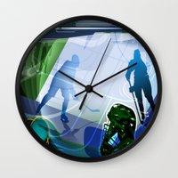hockey Wall Clocks featuring Hockey by Robin Curtiss