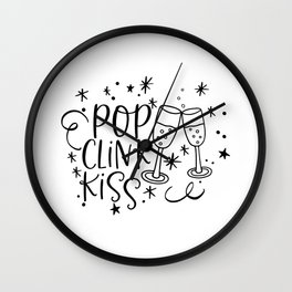 Pop Clink Kiss New Years Day Wall Clock