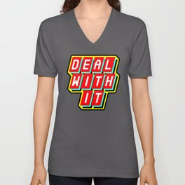 Deal with it / sticker / patch Unisex V-Neck