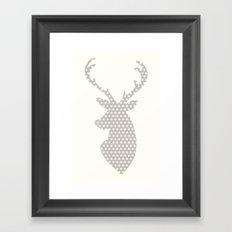 Deer head, art, polka dot, modern, vintage Framed Art Print