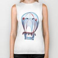 ballon Biker Tanks featuring Hot Air Ballon by Ann Garrett