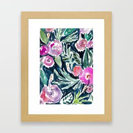 NIGHT TIME IN THE JUNGLE Tropical Hibiscus Palm Framed Art Print