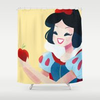 snow white Shower Curtains featuring Snow White by Chabe Escalante