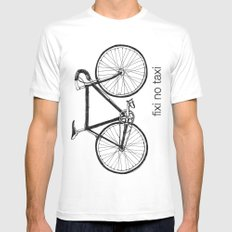 fixi no taxi MEDIUM White Mens Fitted Tee