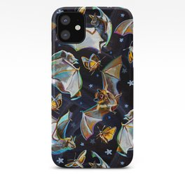 Psychedelic Flying Bats and Moths Pattern iPhone Case