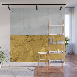 Gold Foil and Concrete Wall Mural