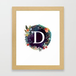 Personalized Monogram Initial Letter D Floral Wreath Artwork Framed Art Print