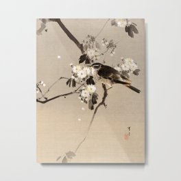 Birds on a Flowering Branch Metal Print