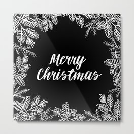 Merry Christmas Black and White Metal Print