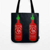 sriracha Tote Bags featuring Sriracha (2012) by Branden Vondrak