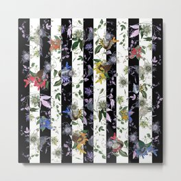 Vibrant Exotic Floral on Black and White Stripes Metal Print