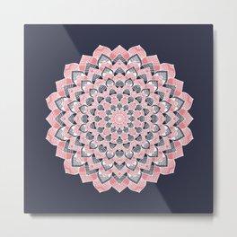 Coral pink and deep blue flower design Metal Print
