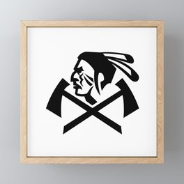 Head of Native American Indian Warrior with Crossed Tomahawk Mascot Black and White Framed Mini Art Print